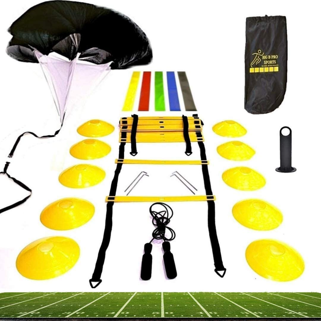 Big B Pro Sports Speed Agility Training Set - Includes Ladder, 10 Cones with Holder, Running Parachute, Jump Rope, Resistance Bands - for Training Football, Soccer, Hockey, and Basketball Athletes. : Sports & Outdoors