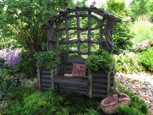 Miniature Fairy Garden Twig Bench with Planters