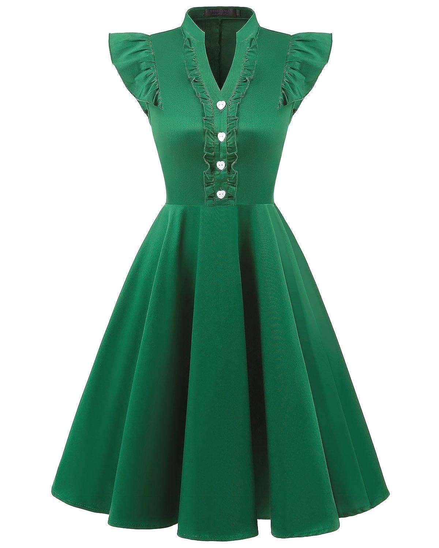 Bridesmay Mujer Corto Vestido Vintage De Estilo 1950 Retro para Fiesta: Amazon.es: Ropa y accesorios