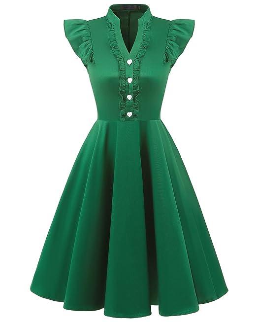 Bridesmay Mujer Corto Vestido Vintage De Estilo 1950 Retro para Fiesta Green S