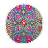 KESS InHouse S Seema Z Kashmeer Love Green Pattern Round Beach Towel Blanket