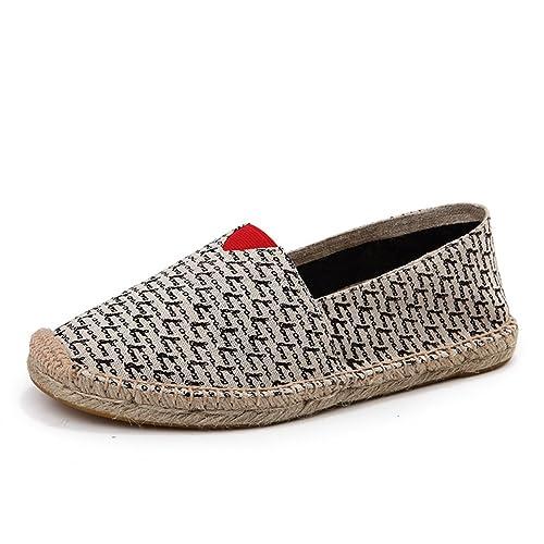 Estilo Chino Alpargatas para Hombre Casual Lino Zapatos Negro Lienzo Zapatillas: Amazon.es: Zapatos y complementos