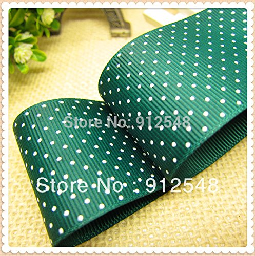 FunnyCraft 10 Yards Sea Green Grosgrain Ribbon Printed White Dots Polka Width 38Mm The Tape For Sewing Diy Hair Accessories Handmade