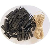 Wood Clothespins to Hang Photos School Projects 2 Inch Clothes Clips with Jute Twine Black Pack 50