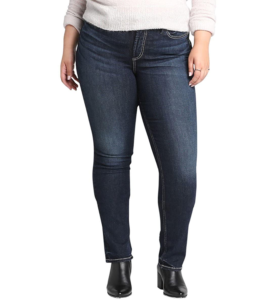Dark Heritage Wash Silver Jeans Co. Womens Plus Size Avery Curvy Fit HighRise Straight Leg Jeans Jeans