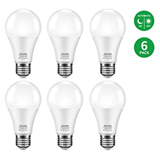 Govee Dusk to Dawn Light Bulb, Sensor Outdoor Led Light Bulbs, Smart Automatic On/Off, 7W(50 Watt Equivalent)600lm 2700k Warm White Indoor/Outdoor Lighting Bulb for Porch, Hallway, Patio, Garage 6Pack