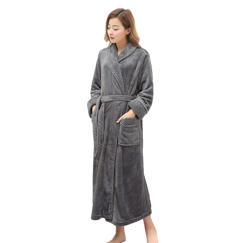 Long Robe for Womens Plush Fleece Bathrobes Ladies Soft Dressing Gown Warm  Housecoat Night Robe Dark Grey at Amazon Women s Clothing store  7655fafda112