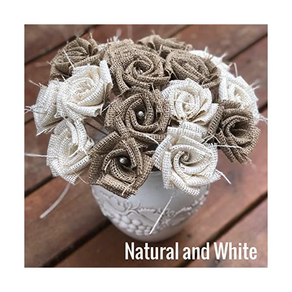 Burlap Flowers with Stem 4 purple, 4 white, 4 natural (12 total) Burlap Rose Flowers with Stem Wedding Decor Flowers Rustic Bouquet with Wooden Stems
