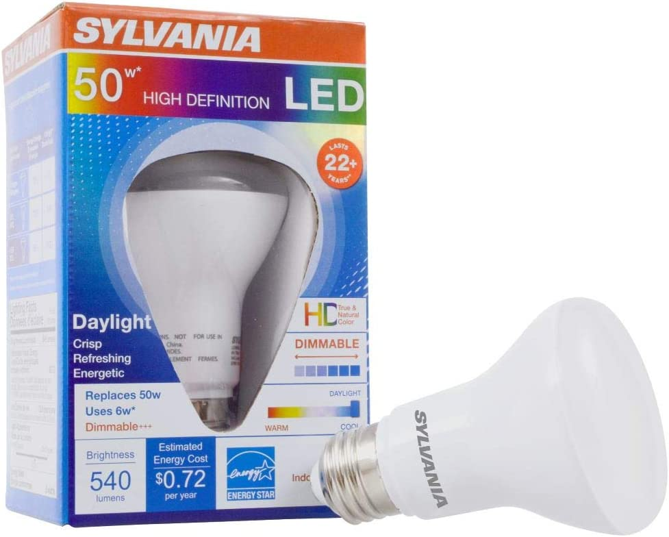 SYLVANIA General Lighting 40026 Sylvania LED R20 Light Bulb, 50W Equivalent, Mediun Base, Dimmable, 6W, 540 Lumen, Daylight Color 5000K, 1 Pack