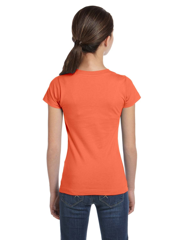 LAT Sportswear Girl's Fine Jersey Longer-Length T-Shirt, Papaya, X-Large