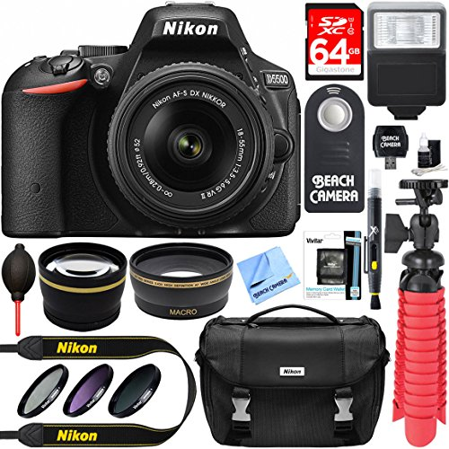 Nikon D5500 DSLR Camera + AF-S DX 18-55mm VR II Lens Kit + Accessory Bundle 64GB SDXC Memory + SLR Photo Bag + Wide Angle Lens + 2x Telephoto Lens + Flash + Remote + Tripod + Filters (Black) by Beach Camera