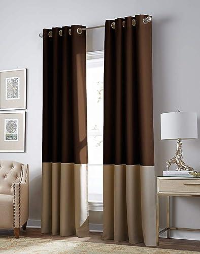 Curtainworks Kendall Color Block Room Darkening Grommet Curtain Panel