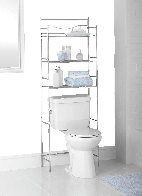Mainstays 3-Shelf Bathroom Space Saver, Satin Nickel Finish. Fits Most Standard Toilets.