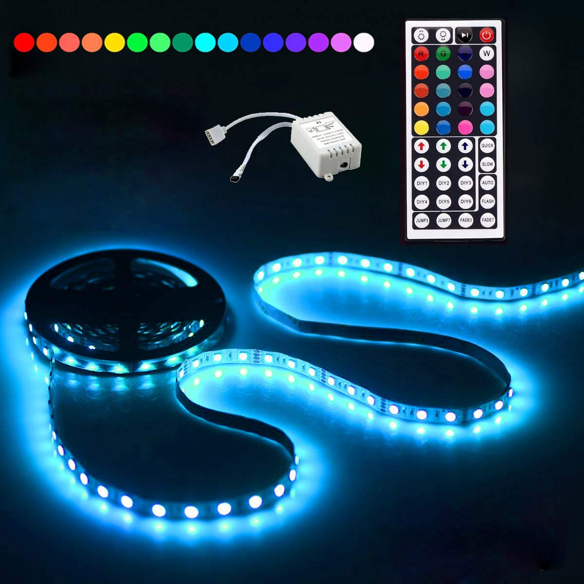 Led Strip Lighting 5M 16.4 Ft 5050 RGB 150LEDs Flexible Color Changing Full Kit with 44 Keys IR Remote Controller, Control Box,12V 2A Power Supply,Not-Waterproof