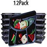 Bento Box,12 Pack Meal Prep Containers,4-Compartment Food Storage Containers,Stackable Reusable Microwave Dishwasher Freezer Safe Bento Lunch Box with Lids By Meleg Otthon