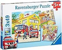 Ravensburger 09401 - Feuerwehreinsatz Puzzle, 3 x 49 Teile