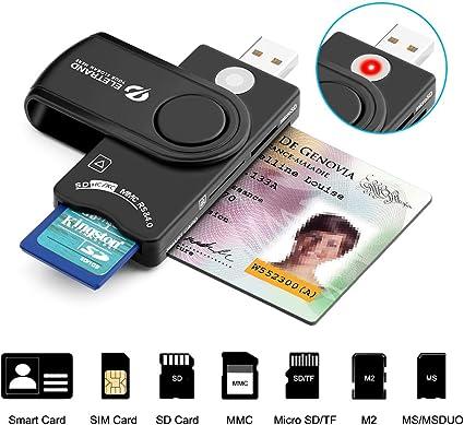 Eletrand Inteligente USB 2.0 Lector de Tarjetas | Lector de DNI Electrónico y CAC Inteligente Lector de Tarjetas | Adaptador de Tarjeta SD/Micro SD | Compatible con Windows: Amazon.es: Electrónica