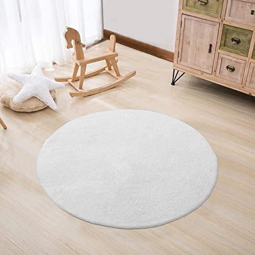 Tiffasea Round Faux Fur Rug for Kids, Soft Fluffy Area Rug, 3ft Cream White Round Carpet Floor Mat for Nursery Girls Bedroom Living Room