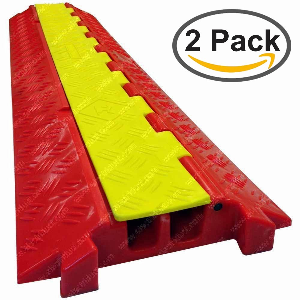 The Falcon - Heavy Duty Polyurethane Cable Protector - 2 Channel - Orange base, Yellow lid (2 Pack) by Electriduct