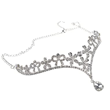 Head Chain Jewelry Wedding Tiara Headpieces with Pendant,Silver