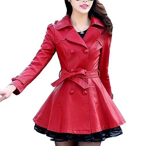 Mujer Largo-largo Elegante Forro de lana Chaqueta de cuero Con cinturón Talla grande Moda Capa
