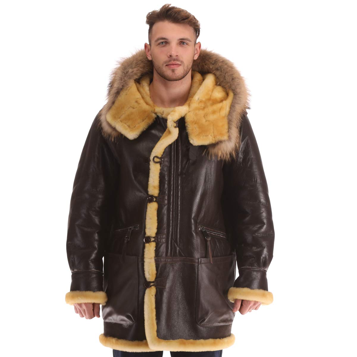 9405c1ed4e0 Men s B3 Real Shearling Sheepskin Bomber Leather Flying Aviator Jacket Fur  B7 World War 2 at Amazon Men s Clothing store