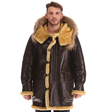 d88bee487 Men's B3 Real Shearling Sheepskin Bomber Leather Flying Aviator ...