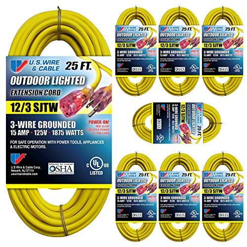 Sjtw Wire (US Wire 74025 12/3 25-Foot SJTW Yellow Heavy Duty Lighted Plug Extension Cord (8-pack))