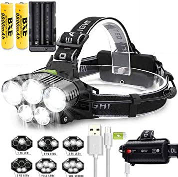 Charger @ Tactical Flashlight 50000LM Zoomable T6 LED Headlight Headlamp Torch