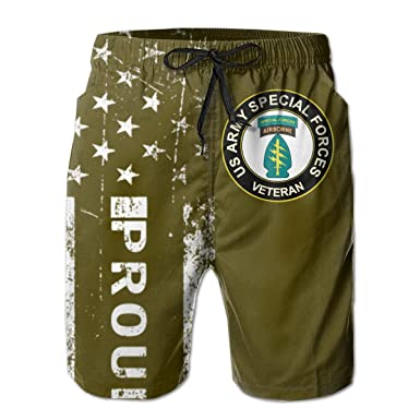 SUNSUNNY US Army Veteran Special Forces Airborne Mens Boardshorts Swim Trunks Beach Athletic Shorts