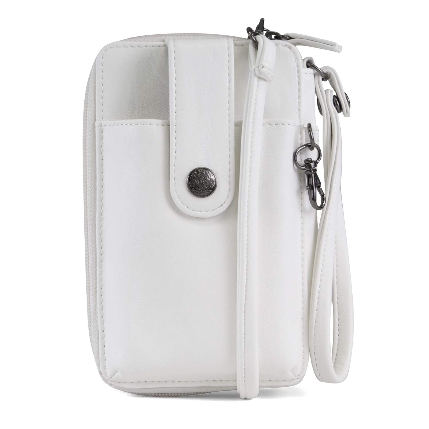 MUNDI Jacqui Vegan Leather RFID Womens Crossbody Cell Phone Purse Holder Wallet (White)