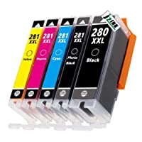 J2INK 5 Pack PGI-280 CLI-281 PGI-280 XL CLI-281 XL PGI-280 XXL CLI-281 XXL Canon 280 281 Ink Cartridges with Chip for Canon PIXMA TS6120 TS6220 TS8120 TS9120