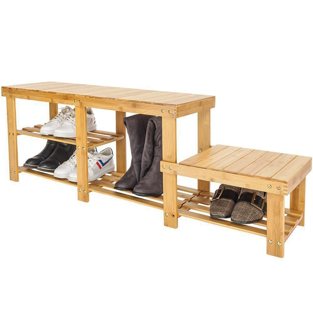 Bonnlo 3 Tiers Natural Bamboo Shoe Bench Shoe Rack Organizer Entryway Storage Shelf with High and Low Levels for Adult and Child for Closet Bathroom