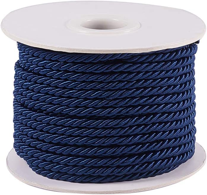 Goldenrod JEWELEADER 65 Feet Twisted Cord Rope Craft Nylon Rope 3mm 3 Strand Multipurpose Utility Cord Trim Choker Thread for Jewelry Making Knot Rosaries Upholstery Curtain Tieback Honor Cord