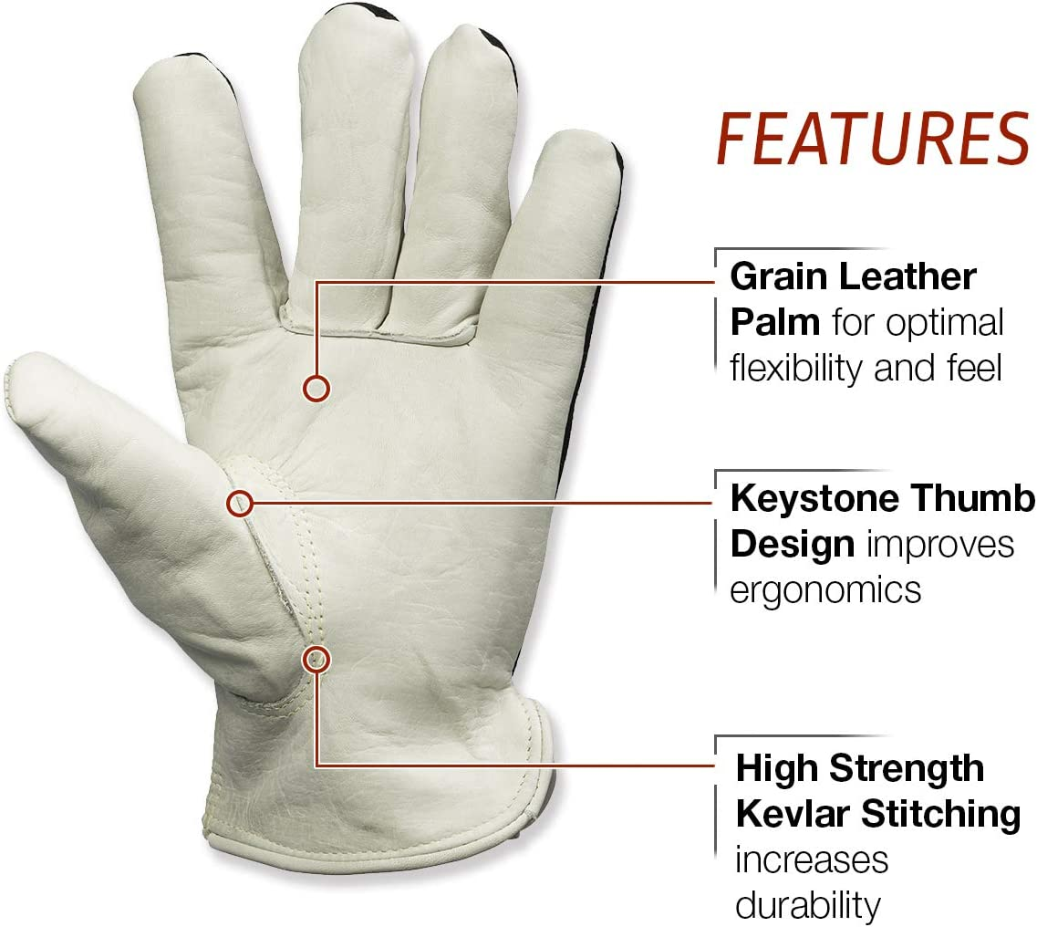 Lincoln Electric Welders Leather Drivers Gloves K3770-M Cotton Liner Top Grain /& Split Leather Medium