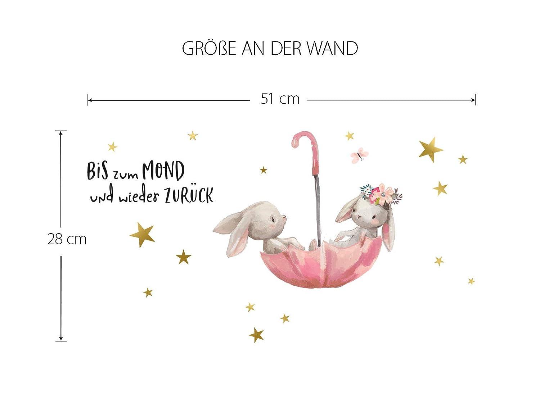 Little Deco Wandtattoo Babyzimmer Hasen /& Spruch Bis zum Mond I A4-21 x 29,7 cm I Regenschirm Kinderbilder Deko Kinderzimmer M/ädchen Aufkleber Sticker DL160