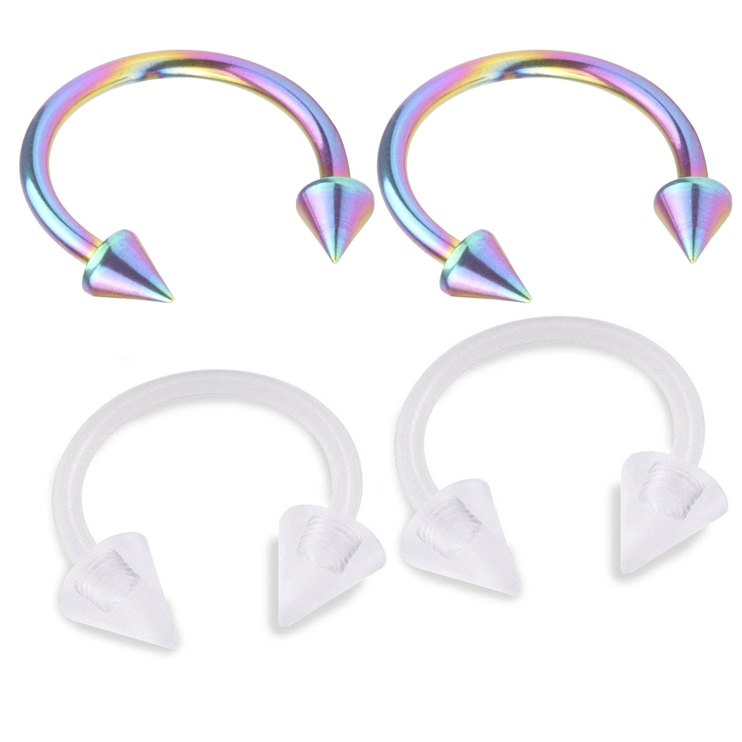 DUY's 2Pair 16G 8mm Horseshoe Ring Circular Barbell Cartilage Hoop Septum Nose Lip Eyebrow Tragus Rainbow And Acrylic Spike