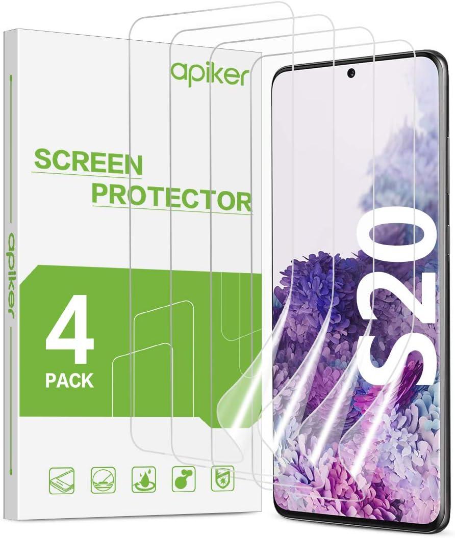 apiker 4 Unidades Protector Pantalla Soft TPU Compatible con Samsung Galaxy S20 5G, Cobertura Máxima, Sin Burbujas, Sin Aplicación Húmeda, 24 Horas de Autocuración