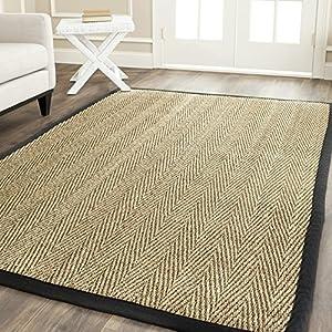 safavieh natural fiber collection nf115c herringbone natural and black seagrass area. Black Bedroom Furniture Sets. Home Design Ideas