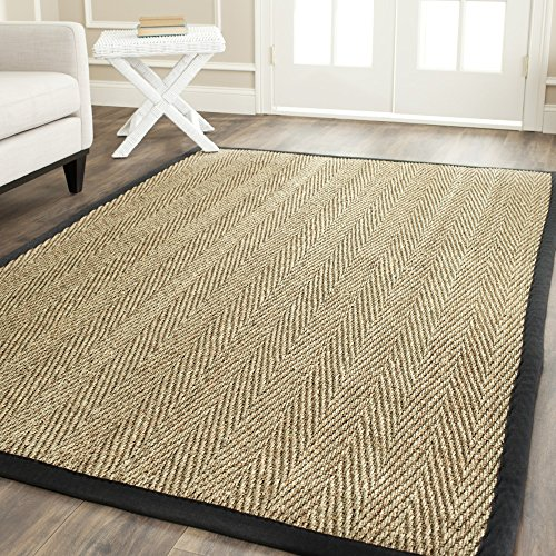 Safavieh Natural Fiber Collection NF115C Herringbone Natural and Black Seagrass Area Rug (8' x 10') (Solid Black Area Rug)