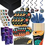 Outer Space Theme Party Supplies - 8 Guest -2 Size Plates, Cups, Napkins, Hanging Swirls, Tattoos, Loot Bags, Tablecloth, Cutlery -Full Solar System Birthday Decoration + Paper Tableware + Favors Set