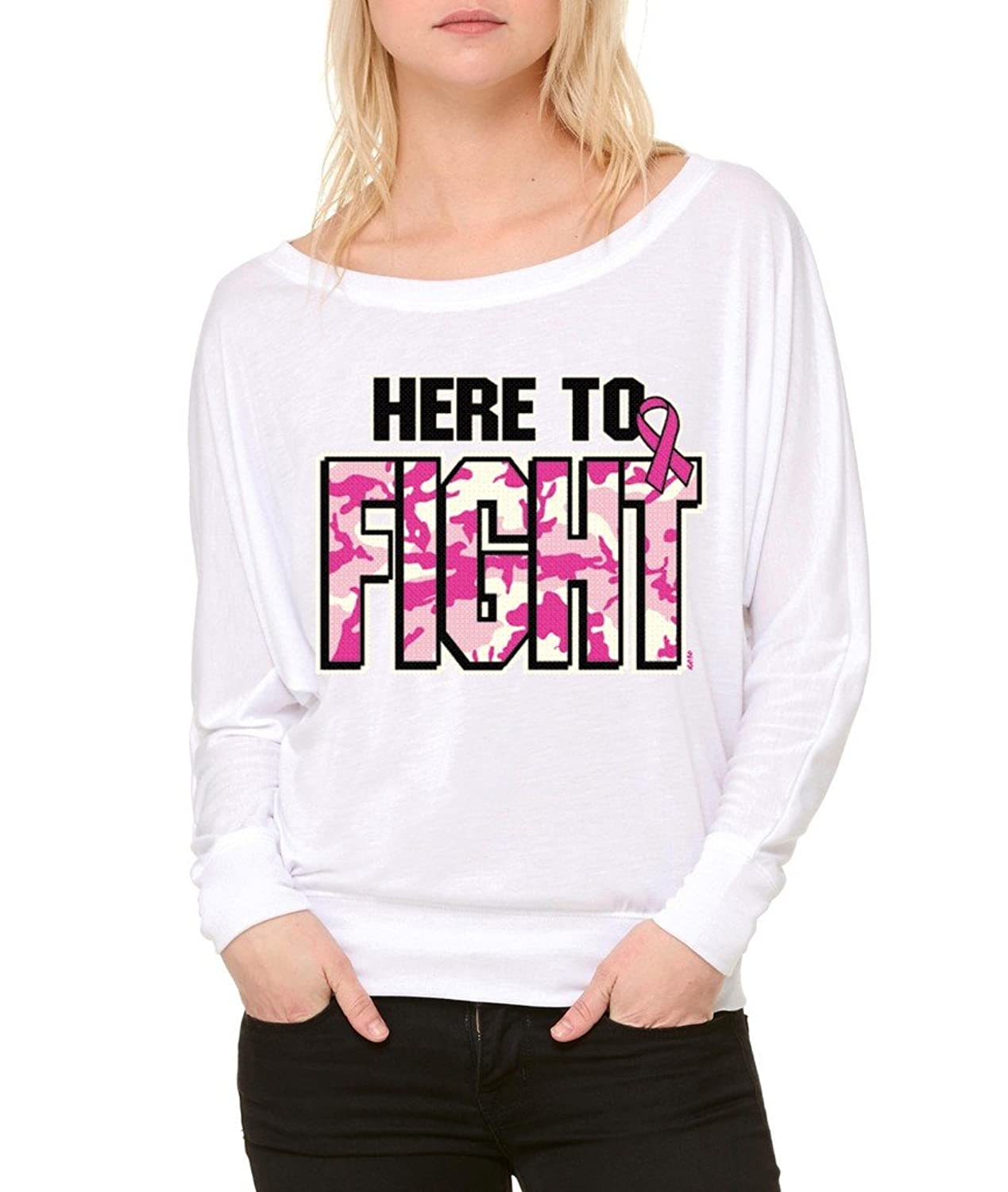 Here To Fight Pink Camo Fight Back Long-Sleeve Breast Cancer Awareness Flowy Shirt