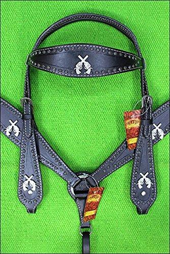 HILASON Western American Leather Horse Headstall Breast Collar Cross Gun Concho ()