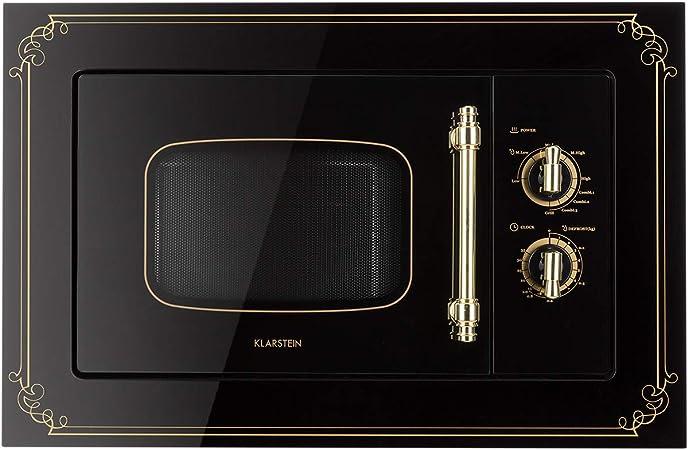 Klarstein Victoria 20 - Microondas, Diseño retro, 20 litros, Microondas de 800 W/Función grill de 1000 W, 3 funciones predeterminadas, Acero inoxidable, Incluye marco para montaje, Negro: Amazon.es: Hogar