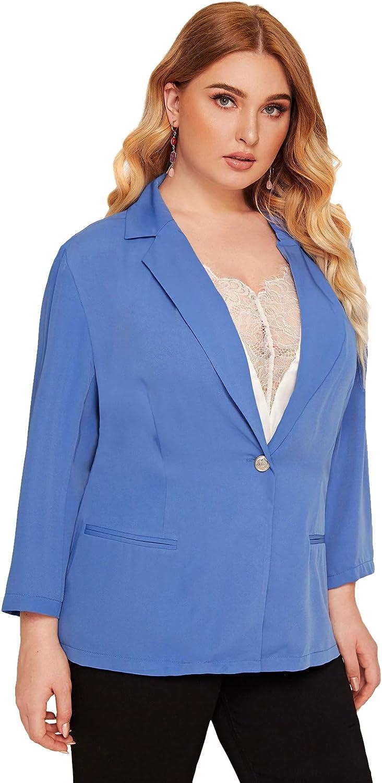 Romwe Womens Plus Single Button Notch Collar Solid Blazer