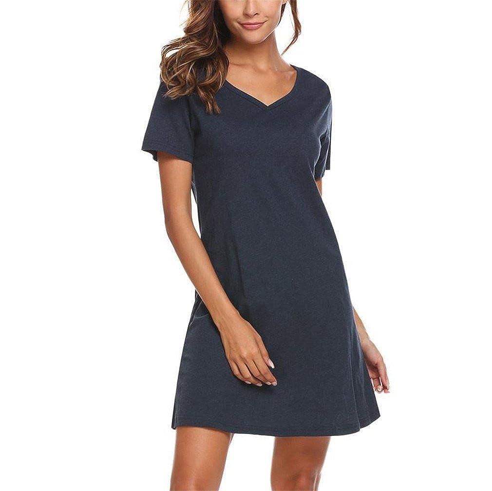 XILALASON Casual Night Dress Sleepwear Cotton Lounge Dress Female Night  Sleeping Dress at Amazon Women s Clothing store  1f4ad1a45