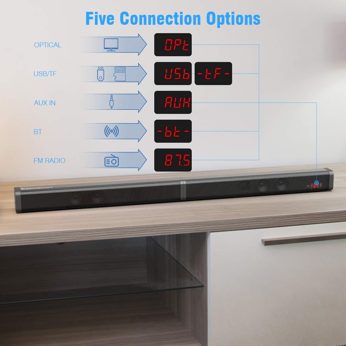 Barra de Sonido Excelvan Barra de Sonido Inal/ámbrica Desmontable de 40 W con Cable Auxiliar AUX para Cable /óptico Entrada USB Ranura para Tarjeta TF Control Remoto para TV//PC//Tel/éfono Inteligente