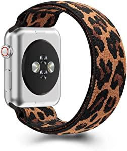 ZEROFIRE Compatible with Apple Watch Elastics Band 38mm 42mm 40mm 44mm, Double-layer Pattern Stretch Bands Fashion Handmade Replacement Strap for iWatch Series 5 4 3 2 1