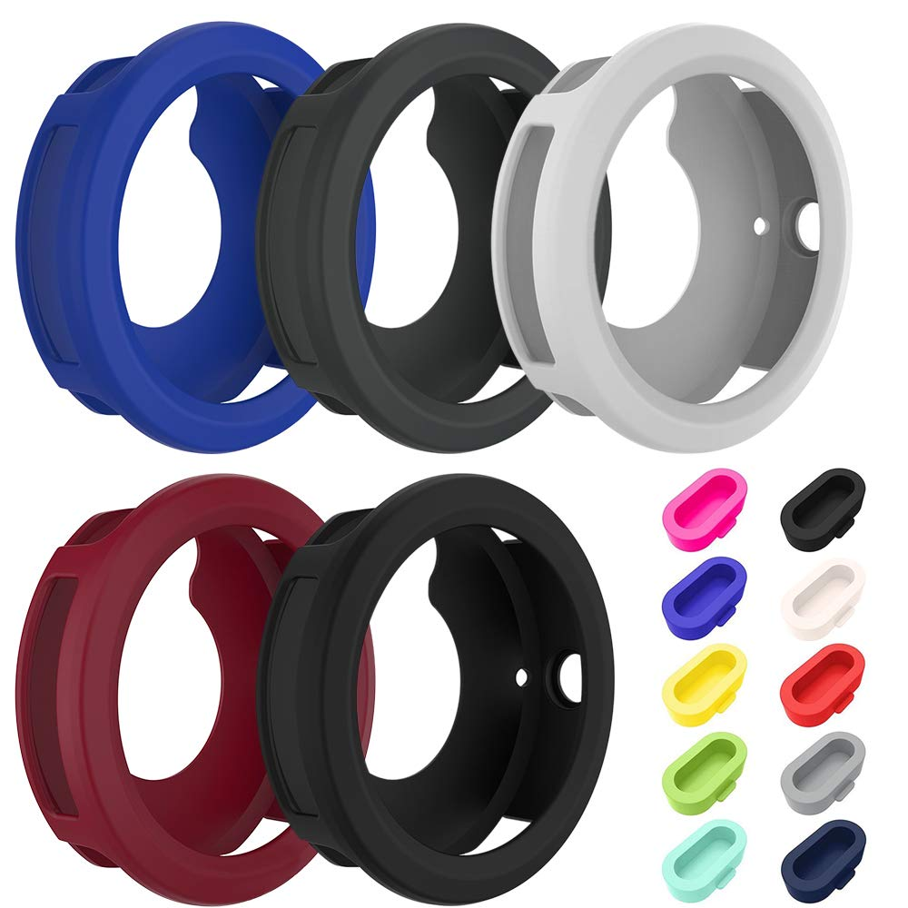 5 Pcs Silicone Watch case Cover & 10 Pcs Anti-Dust Plugs for Garmin Vivoactive 3 GPS Smartwatch, AFUNTA Charger Port Protectors and Soft Silicone Protective Case for Garmin Vivoactive 3 by AFUNTA