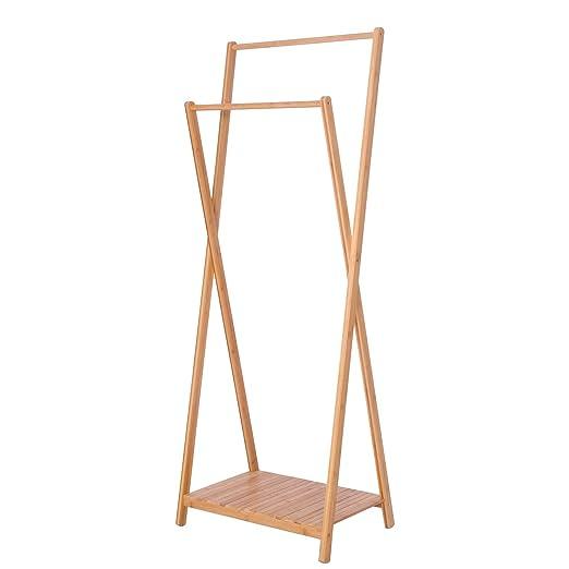 EUGAD Perchero de Bambú Colgador Ropa con 1 Estante Soporte ...